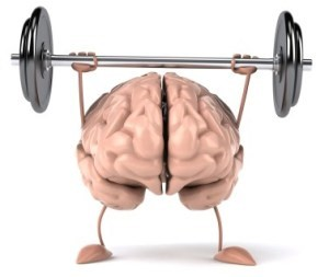 Graphic of a brain lifting a barbell of weights.