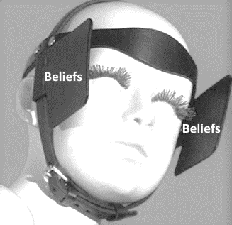 Graphic of a person wearing blinders with the words belief on each side.