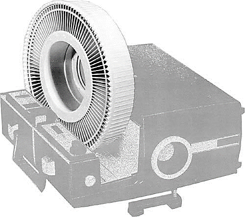 Graphic of a slide projector and tray.