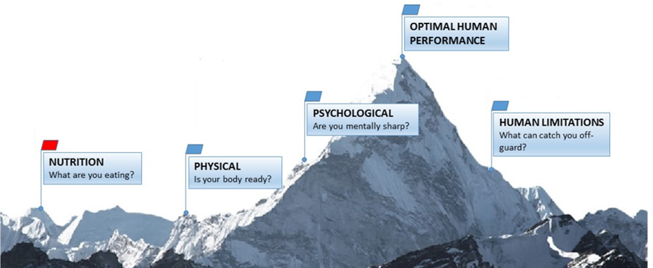 graphic of mountain peak with milestone markers of physical capacity at various points
