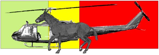 Graphic showing a mule in front of a helicopter representing that safety around helicopters is how you should work around pack animals.