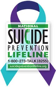 National Suicide Prevention Lifeline logo with a two tone ribbon behind the words and phone number.