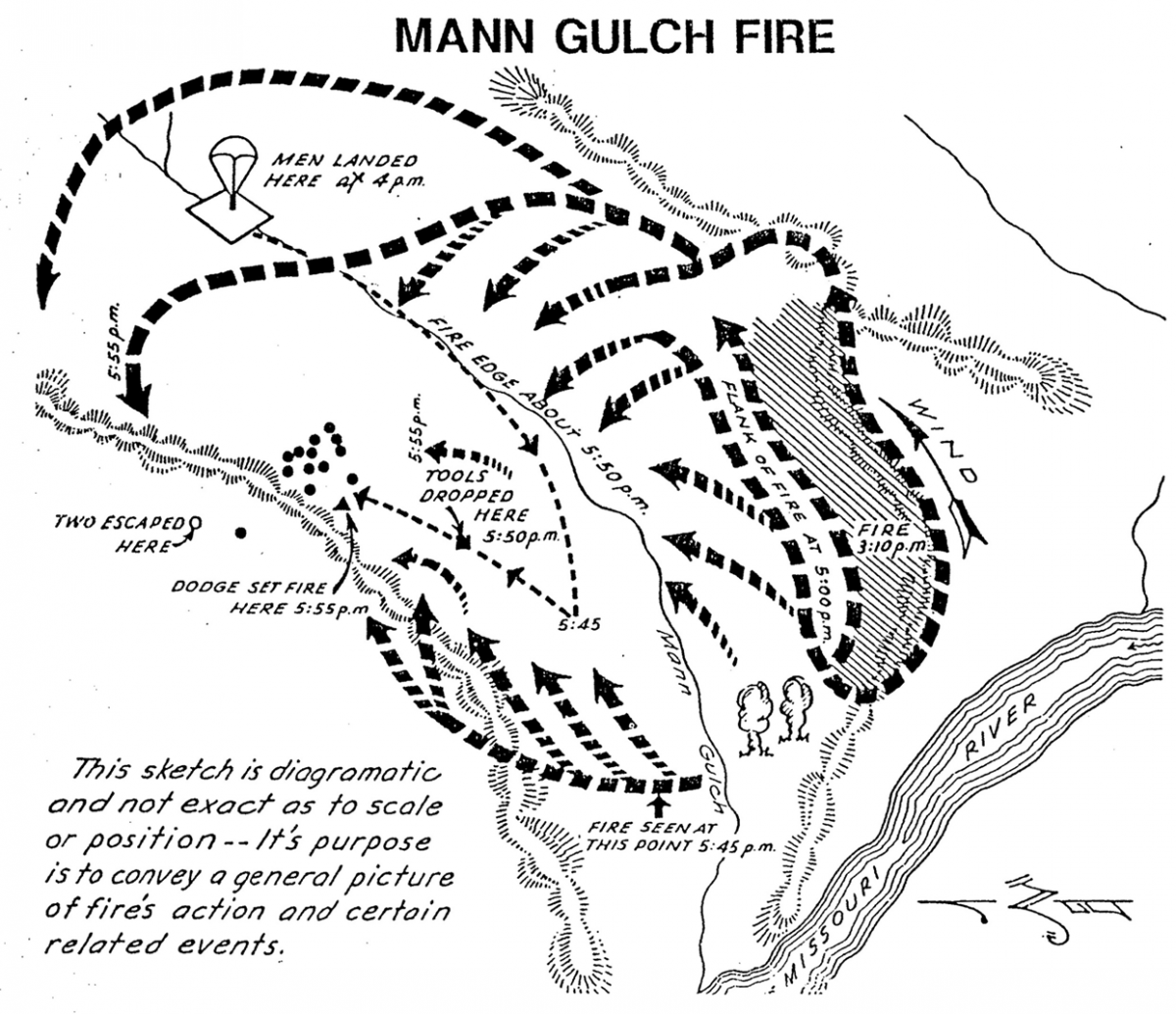 image map of the routes and location of firefighters on the Mann Gulch fire.