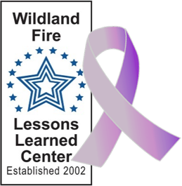 Ribbon symbol for survivor next to the Wildland Fire Leadership logo