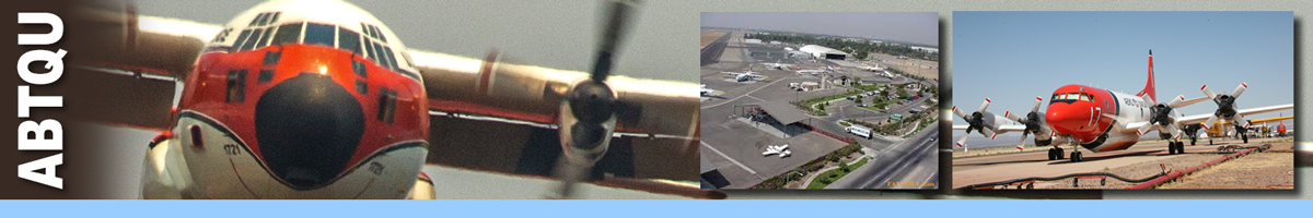 IABTQU header graphic. Photo of the nose of an airtanker, with inset photos of an airtanker base, and an airtanker sitting on the tarmac. Decorative.