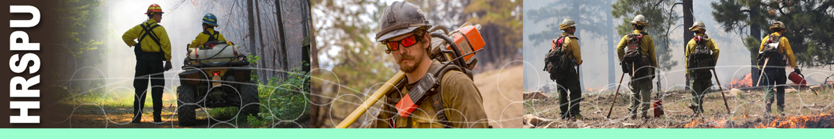 HRSPU Header. Decorative. Three photos of wildland fire personnel. Photo on left of a man standing and a man sitting on a ATV in the forest. Middle photo of a wildland firefighter sawyer with a chain saw slung across his shoulder. Photo on right of a group of four wildland firefighters working on the fire line.