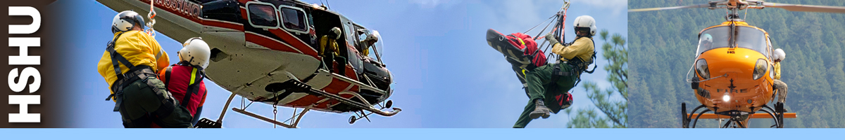 HSHU header graphic. photos of wildland firefighters on hoist lines, while pilots and crew look out of helicopters to assess short-haul operations. Decorative.