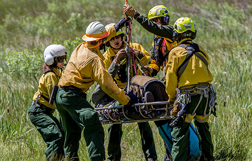 wildland firefighter short haul crew ready a basket carrying a person for transport. Decorative