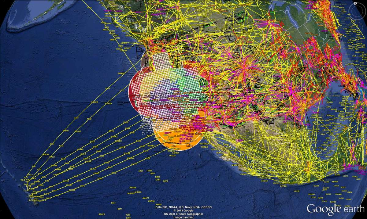 Photo of air routes. Decorative.