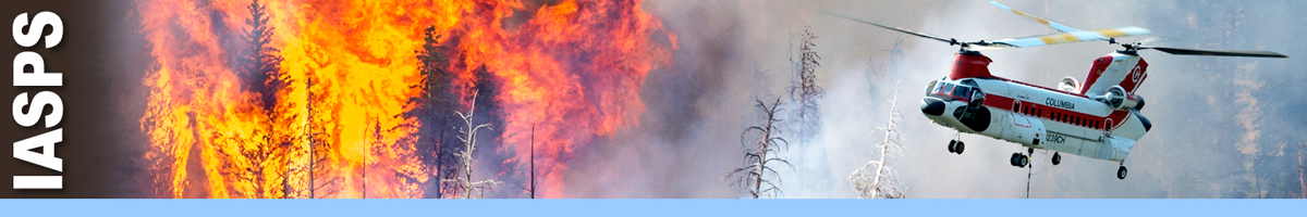 IASPS header graphic. Contracted transport helicopter flying over fire and smoke. Decorative.