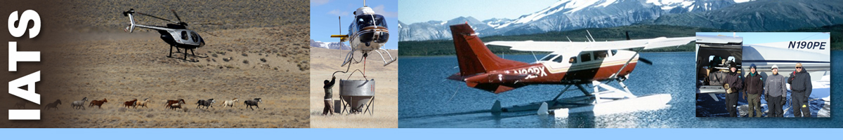 IATS header graphic. Running wild horse heard being gathered by helicopter on the the Nevada range. Man assisting with hoist cable in seeding operations using helicopters. Water plane used to transport biologists and equipment to remote areas with no landing strips. Inset photo of four biologists standing in front of plane.