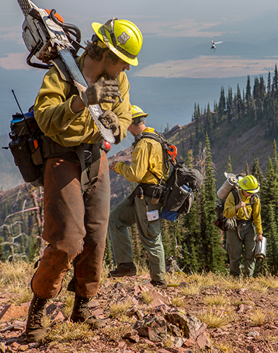 Photo of a group of wildland firefighters carrying equipment and chainsaws walking up a steep hill while a helicopter flies in background.