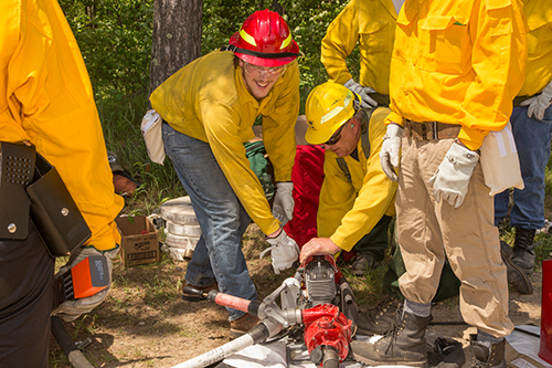 Group of wildland firefighters train on running water pumps. Decorative