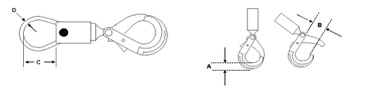 Image of swivel dimensions on left, shank hook on right.