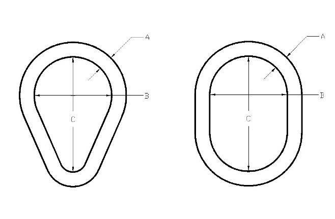 image showing the dimensions of a pear link and an oval link