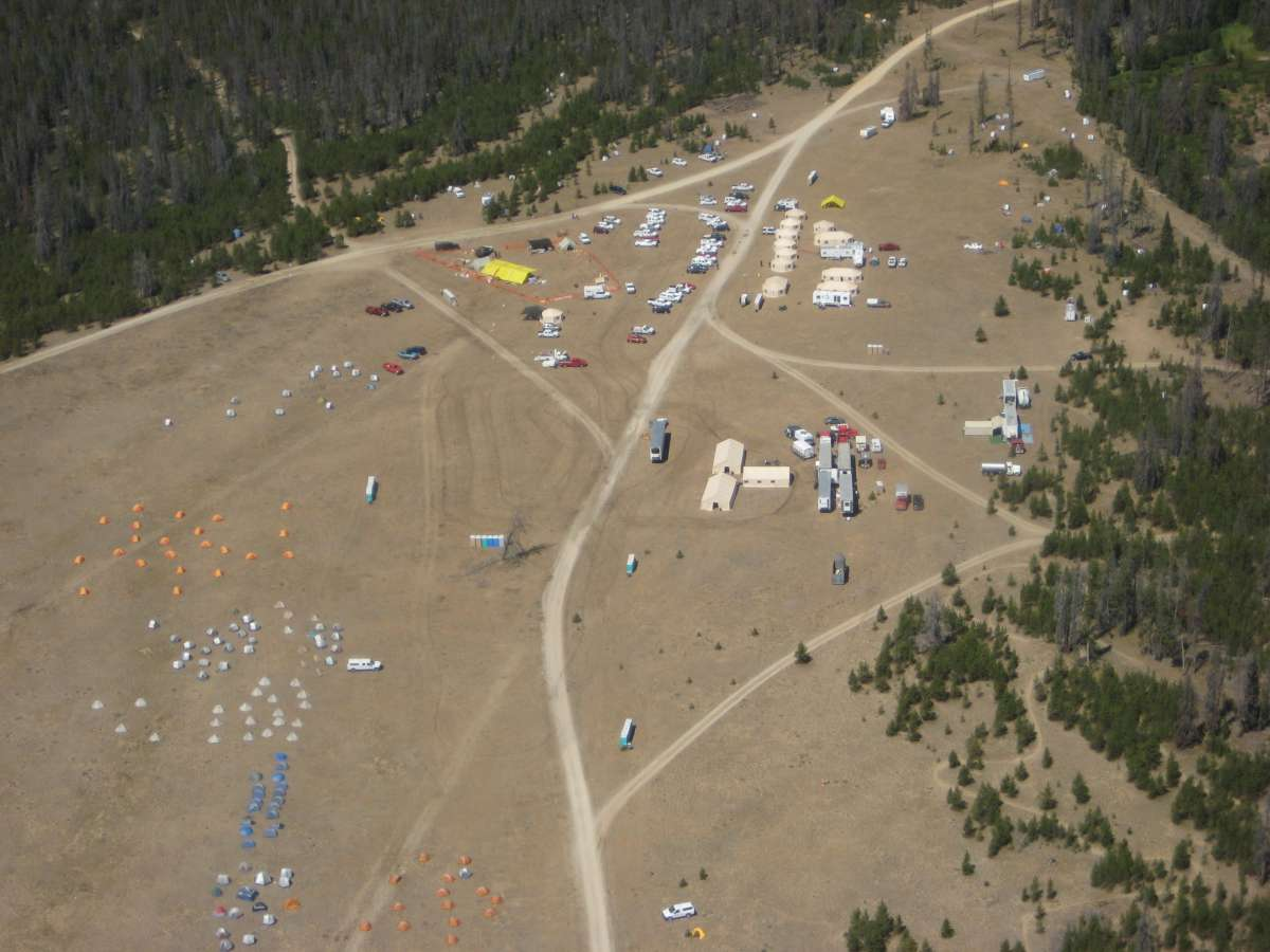 Aerial photo of fire camp