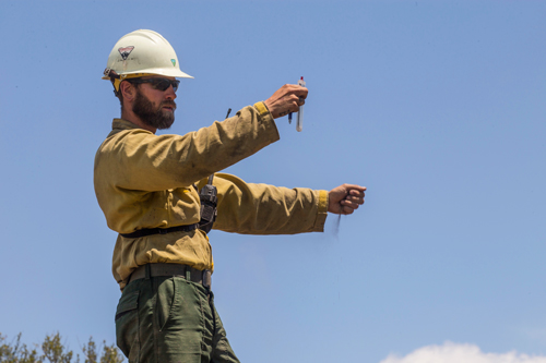 A wildland firefighter holds a weather meter out in front of him while dropping a handful of dirt with other hand to gauge wind direction. Decorative.