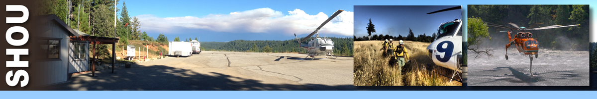 SHOU header graphic. Mountain top helicopter base with single helicopter on launch area. Inset photos of a group of wildland firefighters walking to board helicopter, and a sky crane helicopter siphoning water from hose on body of water. Decorative.