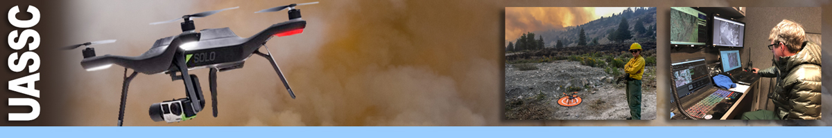 UASSC header graphic. Photo of a drone flying through dense smoke. Inset photos of female firefighter standing at a UAS helipad, and the other of a UAS specialist sitting in front of a bank of computer screens reading data. Decorative.