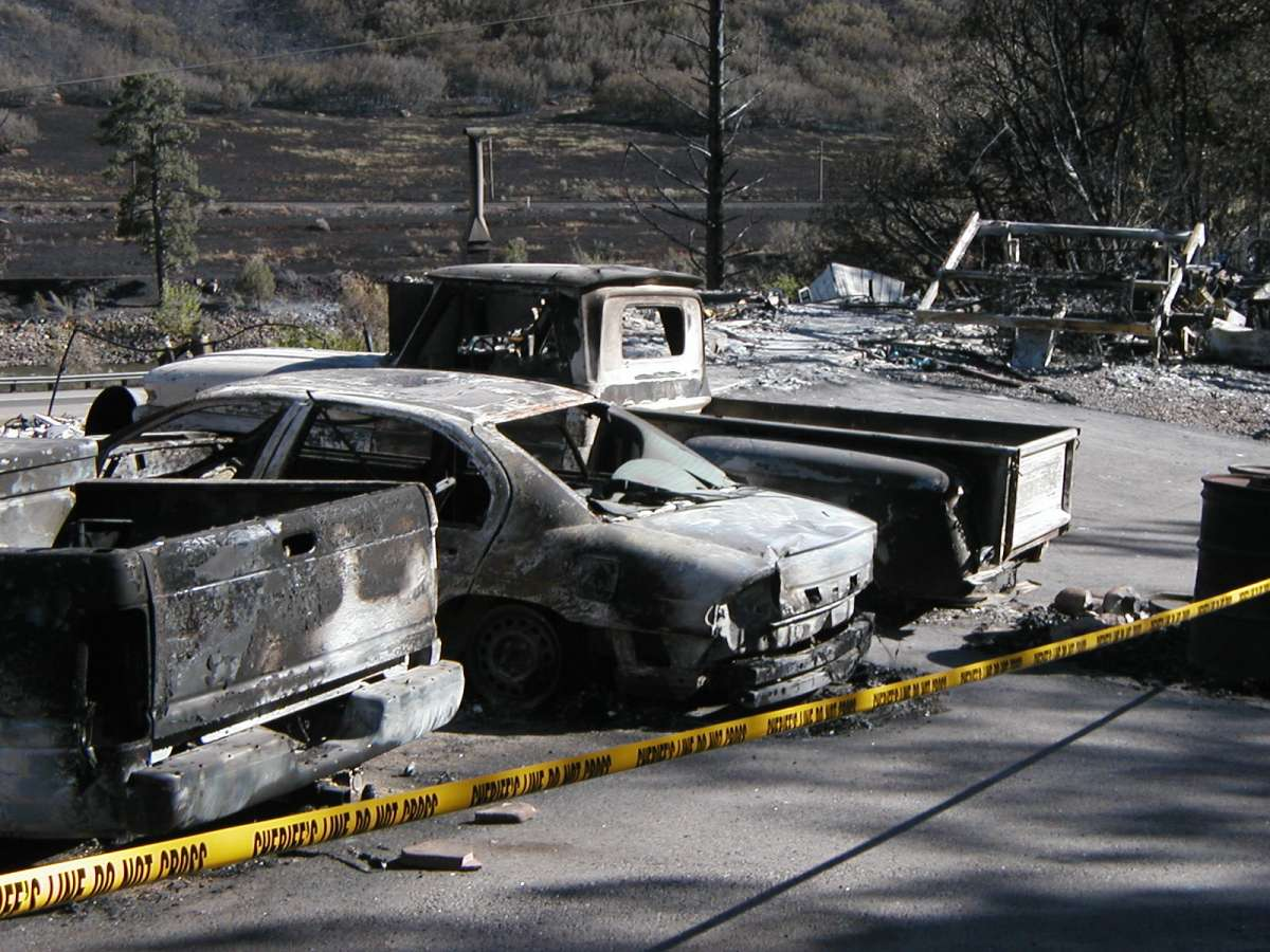 Photo of burned cars. Decorative.