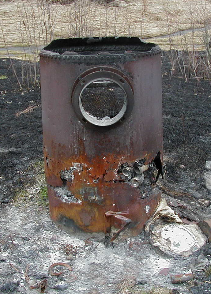 Photo of burned barrel. Decorative.