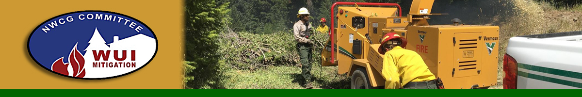 WUIMC header graphic. photo of people using a chipper to clear brush. Decorative.
