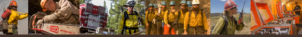 Decorative banner. Various photos depicting wildland firefighting positions.