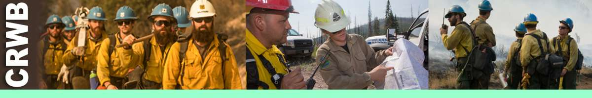 CRWB decorative banner: Three photos depicting crew boss position, firefighters marching, reviewing map, crew boss on radio and firefighters nearby. CRWB Position Description: The Crew Boss leads a hand crew and is responsible for their safety on wildland and prescribed fire incidents. The CRWB supervises assigned crewmembers and reports to a Strike Team/Task Force Leader or other assigned supervisor. The CRWB works in the Operations functional area.