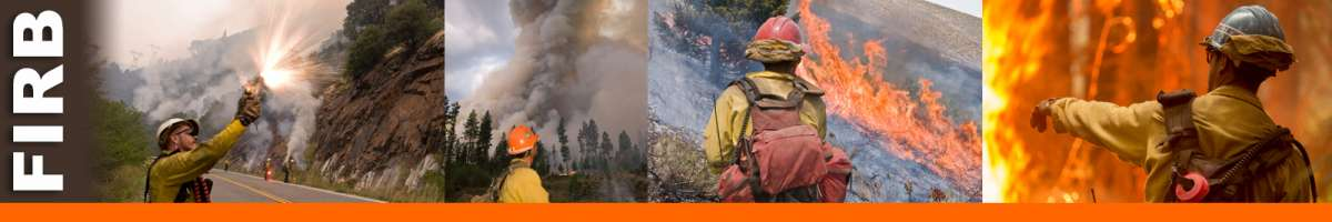 FIRB decorative banner: Four photos depicting firing boss position, firefighter firing a flare, firefighters observing fire, firefighter pointing toward fire. FIRB Position Description: The Firing Boss leads ground and/or aerial ignition operations and coordinates with holding resources on wildland and prescribed fire incidents. The FIRB supervises assigned firing resources and reports to a Strike Team/Task Force Leader, Burn Boss or other assigned supervisor. The FIRB works in the Operations functional area.