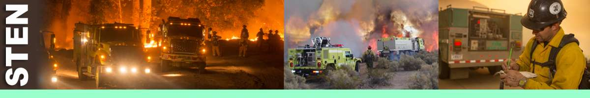 STEN decorative banner: Three photos depicting strike team leader engine, fire engines with lights, fire rigs in sagebrush, firefighter standing next to engine. STEN Position Description: The Strike Team Leader Engine directs five engines of the same Incident Command System (ICS) type performing tactical missions on a division or segment of a division, on wildland fire incidents. The STEN supervises resources at the Single Resource Boss level and reports to a Division/Group Supervisor. The STEN works in the Operations functional area.