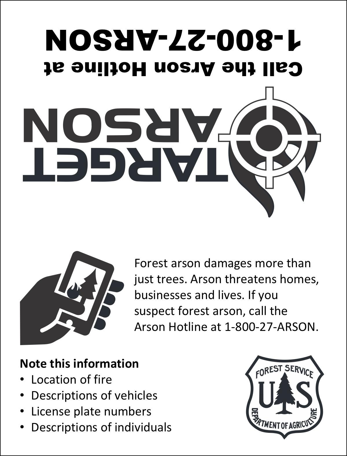 Target Arson Hotline Number License Holder Nwcg