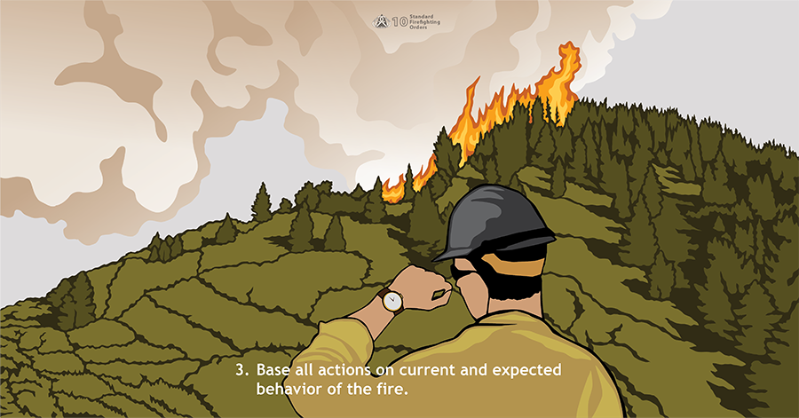 3. Base all actions on current and expected behavior of the fire. A firefighter looks at his watch, which reads 2 PM, while a fire actively grows in steep terrain and heavy timber.