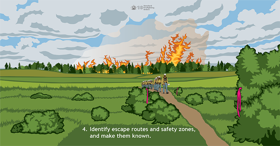 4. Identify escape routes and safety zones, and make them known. A fire crew is walking through a meadow on a path lined with pink flagging. Behind them, a fire is growing in heavy timber.