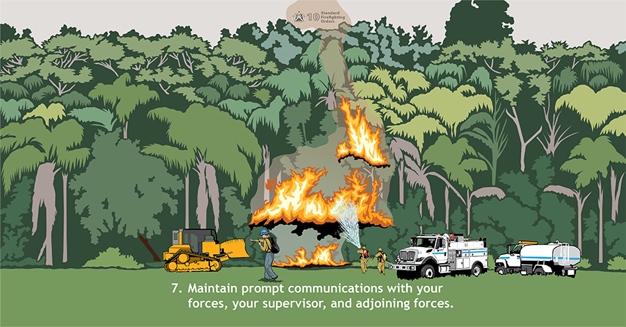 7. Maintain prompt communications with your forces, your supervisor, and adjoining forces. A bulldozer is on one side of a fire burning in palmetto, and a fire engine and water tender are on the other. A supervisory firefighter is in the middle talking into the radio and gesturing to the bulldozer.