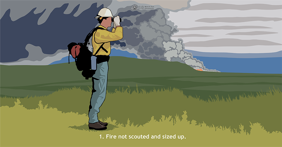 1. Fire not scouted and sized up. A firefighter surrounded by green vegetation looks through binoculars in one direction. Far behind him is smoke from a wildland fire.