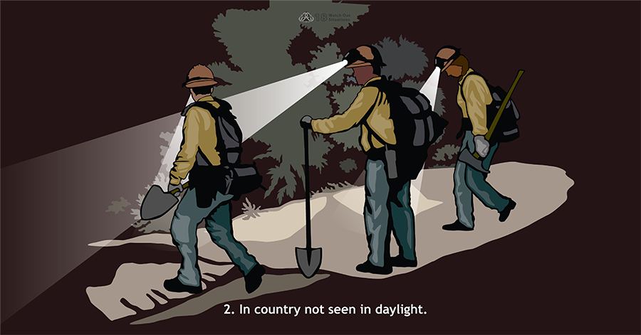 2. In country not seen in daylight. Three firefighters carrying tools walk in the dark. Their headlamps illuminate a large brush in front of them.