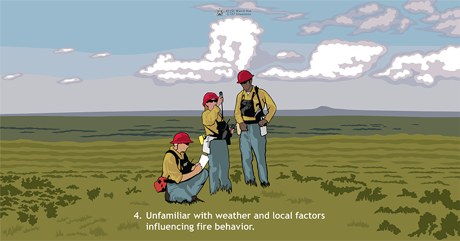 4. Unfamiliar with weather and local factors influencing fire behavior. Three firefighters examine weather instruments while standing in a wide open, grassy area. Large white clouds appear to grow in the distant sky.
