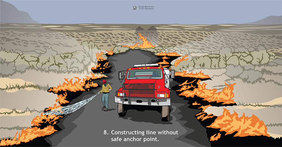 8. Constructing line without safe anchor point. A red fire engine is located inside a burned area with flames all around it while a firefighter sprays water from a hose at some of the flames.