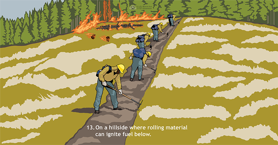 13. On a hillside where rolling material can ignite fuel below. Several firefighters use tools to dig fireline up a steep hill. Above them, logs and trees are on fire.