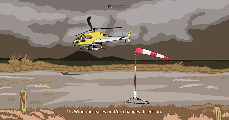 15. Wind increases and/or changes direction. A yellow and white helicopter is hovering over the ground with a dark, stormy sky in the background. Wind blows a red and white windsock.