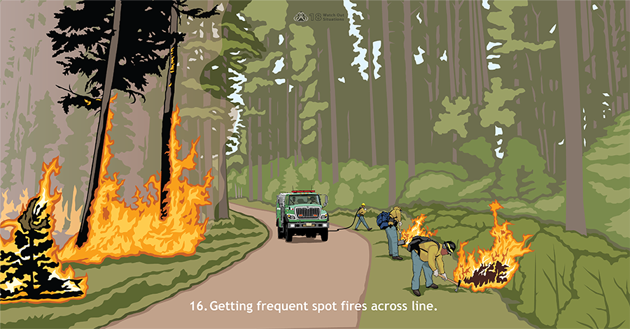 16. Getting frequent spot fires across line. In tall, thick timber, a fire is actively burning on the left side of the road. On the right side, firefighters are spraying water and digging with tools on spot fires. Behind them, a green fire engine is driving on the road.