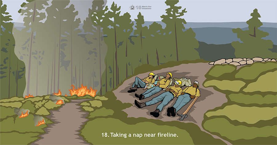 18. Taking a nap near fireline. A fire is burning on the left side. Four firefighters lie on the ground napping on the right side.