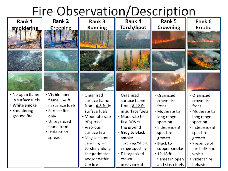 CFFDRS Fire Observation/Description chart. This guide identifies key terms for describing fire behavior and provides reference imagery and descriptive detail to aid observation reports.