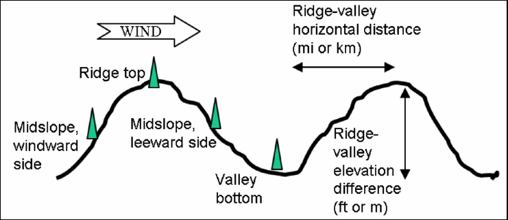 Spotting distance terrain factors include the position of the torching tree, the ridge to valley elevation horizontal distance, and the ridge to valley elevation change downwind from the source.