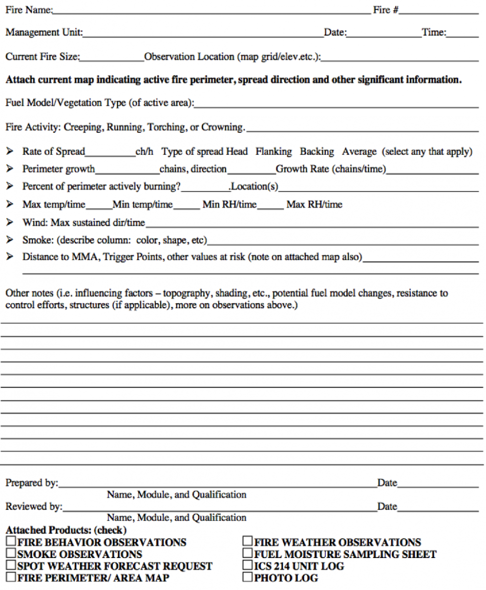 Fire Behavior Observation Form.