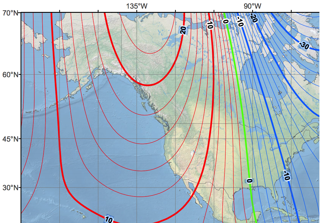 recent map of magnetic declination for field navigation.