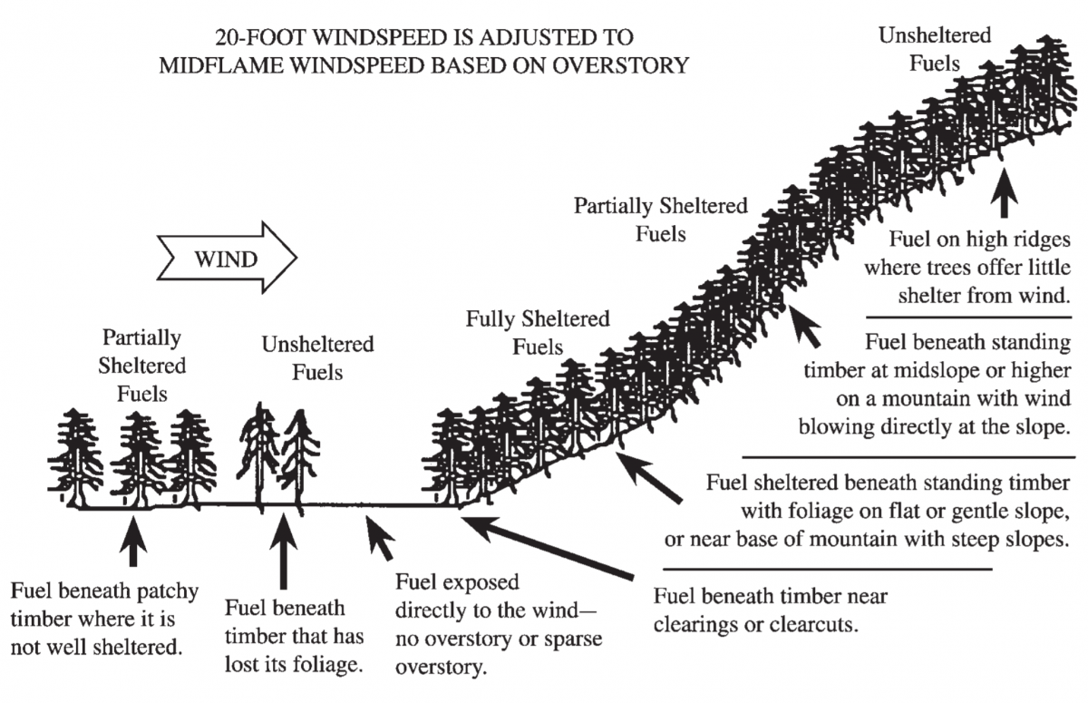 Image depicting Wind Adjustment Factors based on canopy cover and position on slope.