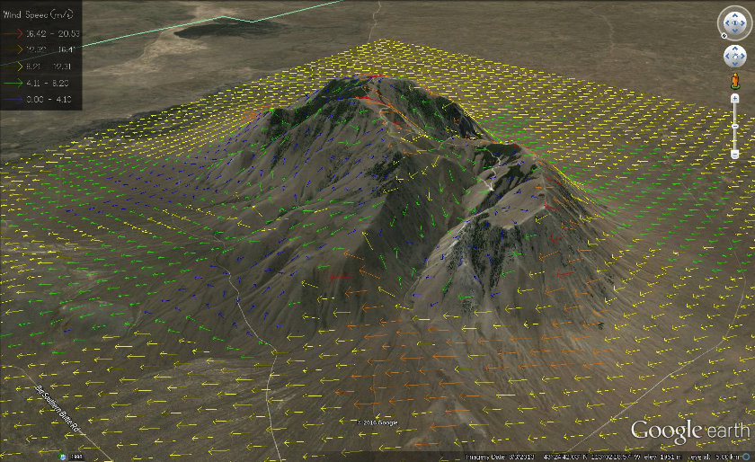 Wind Ninja: This image depicts output from software that combines general winds, terrain, and vegetative cover.