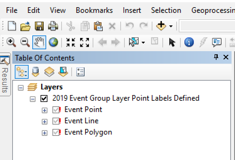 The Event Group Layer shown in the ArcMap table of contents with broken data links.