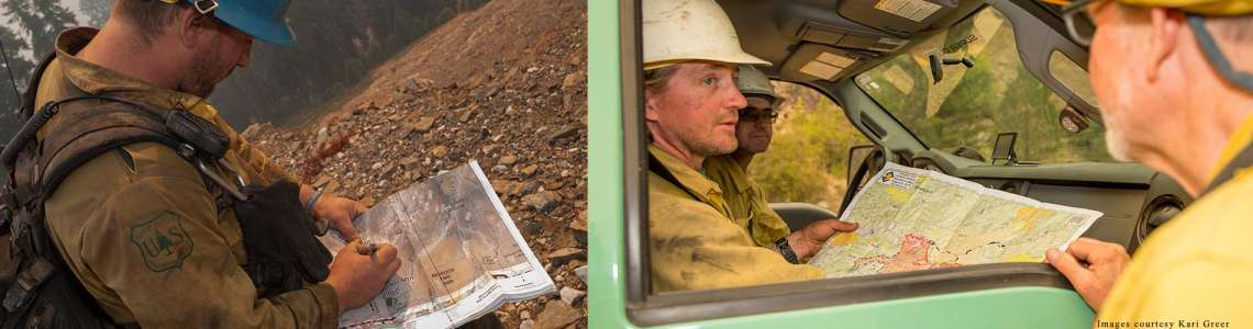 Firefighters using maps. Images courtesy Kari Greer (http://www.kariphotos.com/)